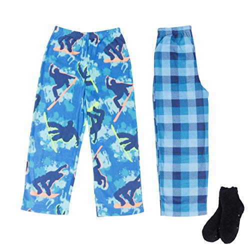 - Mad Dog Boy's 2-Pack Pajama Pants + Slipper Socks (Snowboard/Plaid, XL (14-16))
