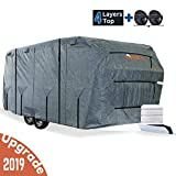 KING BIRD Extra-Thick 4-Ply Top Panel & Extra 2Pcs Reinforced Straps, Deluxe Camper Travel Trailer Cover, Fits 27'- 30' RV Cover -Breathable Water-Repellent Anti-UV with Storage Bag&Tire Covers