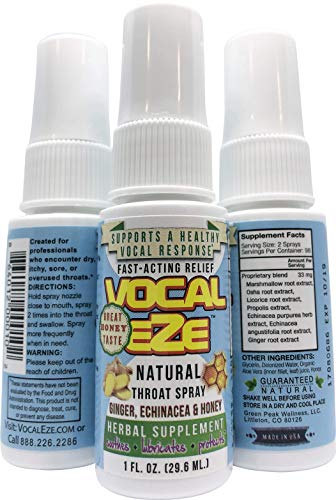 Vocal Eze, Vocal Herbal Throat Spray (1) Bottle   Celebrity Endorsed   Relieve Sore, Horse, Fatigue, Dryness, Immune Support, All Natural Ingredients