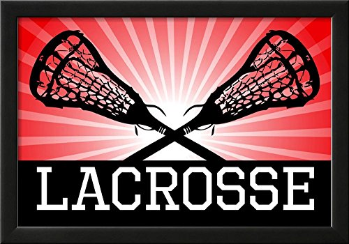 Lacrosse Red Sports Poster Print Framed Poster 21 x 15in by Poster Revolution