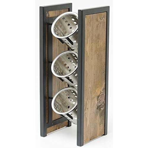 Hubert Reclaimed Wood Collection Vertical Silverware Cylinder Holder Stand - 7