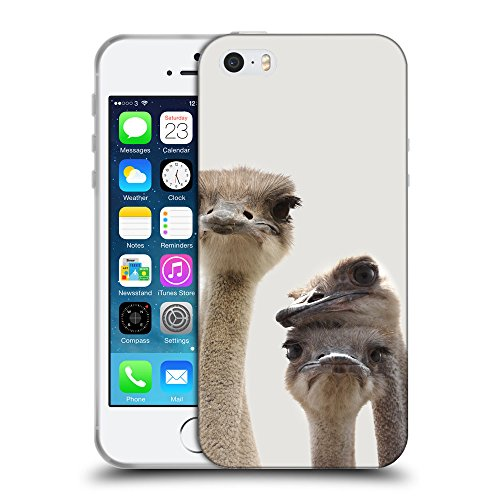 GoGoMobile Coque de Protection TPU Silicone Case pour // Q05720631 Jolies autruches Platino // Apple iPhone 5 5S 5G SE