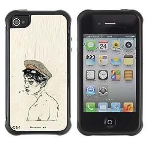 LASTONE PHONE CASE / Suave Silicona Caso Carcasa de Caucho Funda para Apple Iphone 4 / 4S / Soldier Army Smoke Naked