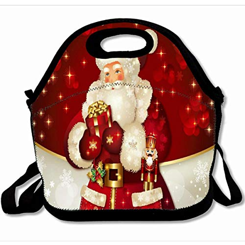 Ahawoso Reusable Insulated Lunch Tote Bag Merry Christmas Dream Like Santa Claus 10X11 Zippered Neoprene School Picnic Gourmet Lunchbox