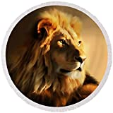 Pixels Round Beach Towel With Tassels featuring ''King Lion Of Africa'' by Georgiana Romanovna