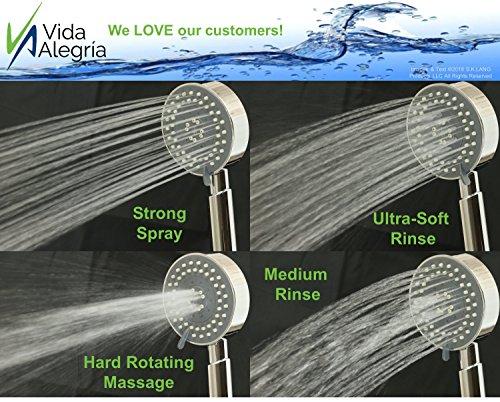 Vida Alegria UBERMIST 2.5GPM Handheld Shower Head with Steel Hose, Holder, 2 Regular Sprays & Mist Mode