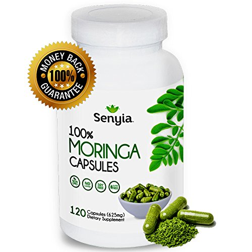 Moringa Capsules Complete Green Superfood - High Potency Energizing Supplement Antioxidant - 100% Pure Moringa Oleifera Leaf Powder - Max 2500 mg per serving 120 Raw Whole Food Vegetarian Capsules