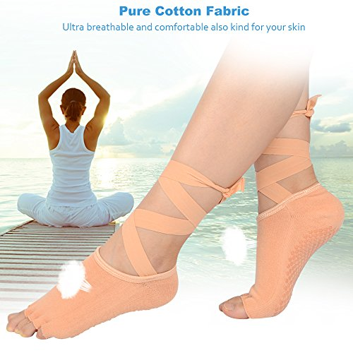 slip Socks Yoga Dance Fitness Foot Sport One Pilates Ballet with Cotton Nude Ankle Soft Toeless Size for Barre Grip Nude Strap SOUMIT Anti Socks qFw05qxd