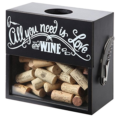 (Lily's Home Wine Cork Holder Shadow Box with Magnetic Corkscrew, Wood and Glass Box, Wood and Glass Box Makes the Ideal Gift for the Happy and Hydrated Drinker, Black (8