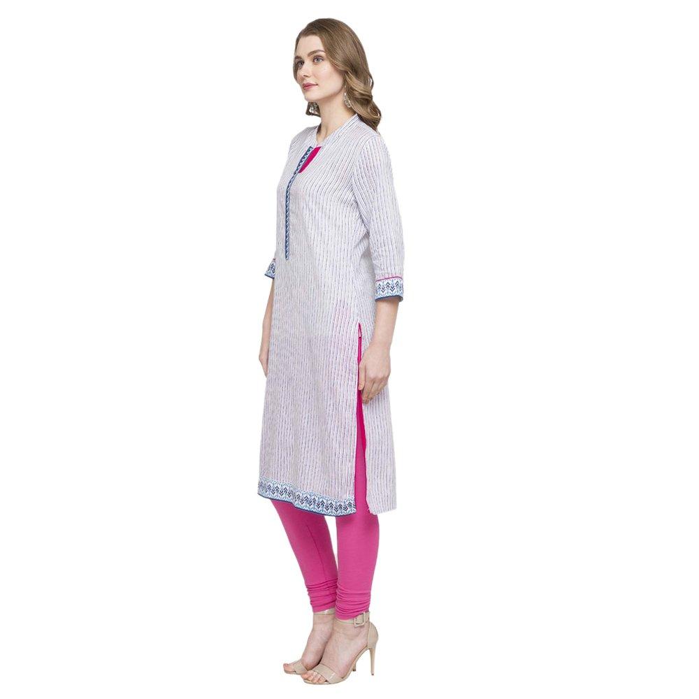 fa3ce886e7 STOP by Shoppers Stop Womens Mandarin Neck Stripe Kurta: Amazon.in:  Clothing & Accessories