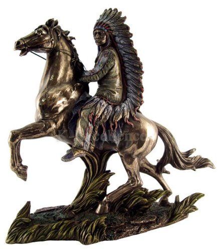 hief Sitting Bull on Horseback Statue in Cold Cast Bronze ()