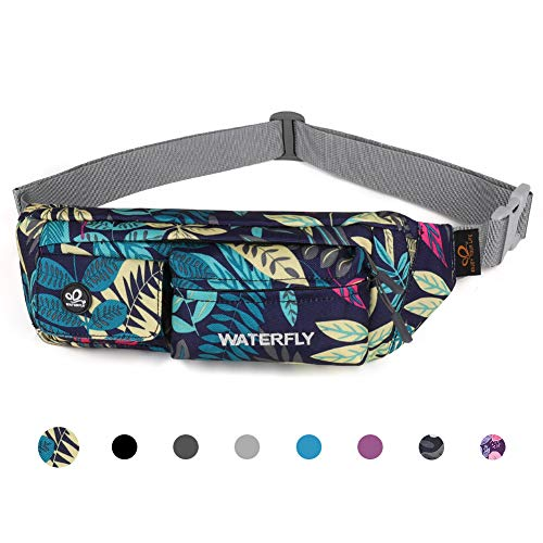 Waterfly Fanny Pack Slim Soft Polyester Water Resistant Waist Bag for Man Women Carrying iPhone Xs / 8 Plus Samsung S10 Plus/Note 8