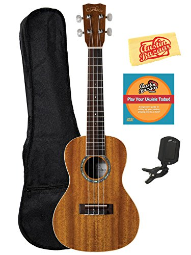 Cordoba 15CM Concert Ukulele Bundle with Gig Bag, Tuner, Instructional DVD, Polishing Cloth by Cordoba