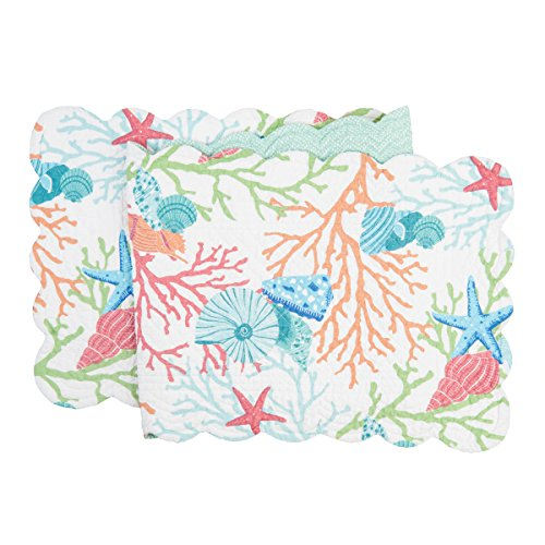 C&F Home Caribbean Splash Colorful Ocean Sea Shells and Coral Cotton Quilted Reversible Table Runner 1451 Table Runner Blue