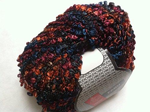 Muench Fabu Boucle Ribbon Yarn - #4304 Blue, Black, Copper, Burgundy 50 Gram -