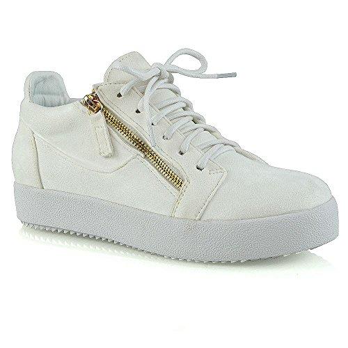 Sneakers Moda Donna Essex Glam Allacciate Con Cerniere In Finta Pelle Scamosciata Bianca