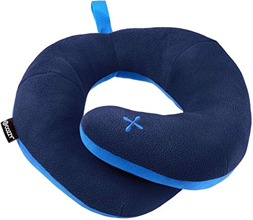 Neck Cushion - BCOZZY Chin Supporting Patented Travel Pillow - Prevents The Head from Falling Forward in Any Sitting Position, Providing Comfort and Support for The Neck and Head. Adult Size (Navy)