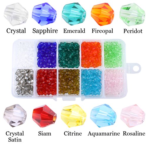 JewelrieShop Bling Bling DIY Faceted Bicone Crystal Glass Beads for Bracelet Necklace Bags Ear Rings - Faceted Crystal Bead Necklace