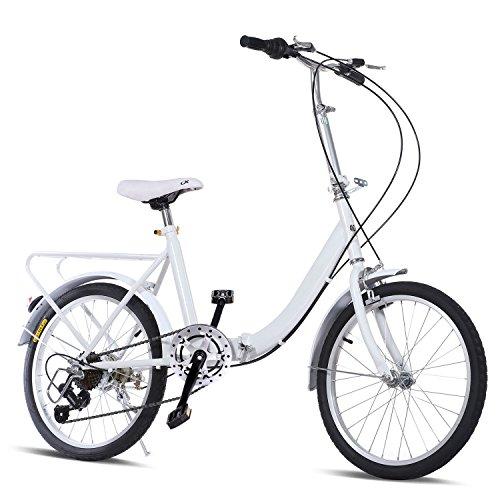 Folding Bike 20-Inch 7 Speed Loop Bicycle for Commuting, School [US Stock]