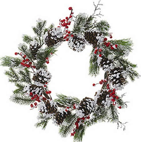 (Mikash 24 Snowed Berry, Pinecone Pine Artificial Hanging Wreath -Red/White | Model WRTH - 428)