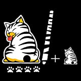 vylymuses 3D Car Stickers Cartoon Funny Cat Moving Tail Stickers Reflective Car Styling Window Wiper Decals Rear Windshield Decor Sticker (White)
