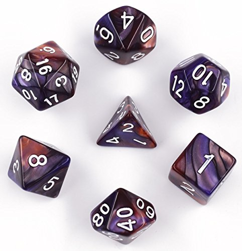 Hengda dice Polyhedral 7-Die Dice Sets for Dungeons and Dragons Pathfinder DND RPG Table Gaming Dice (Copper/Purple)