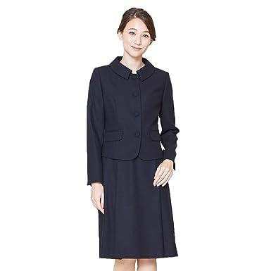 5802f7a9d4ae1 お受験スーツ ママ 濃紺スーツ B-GALLERY ウール100% 日本製 ステンカラー