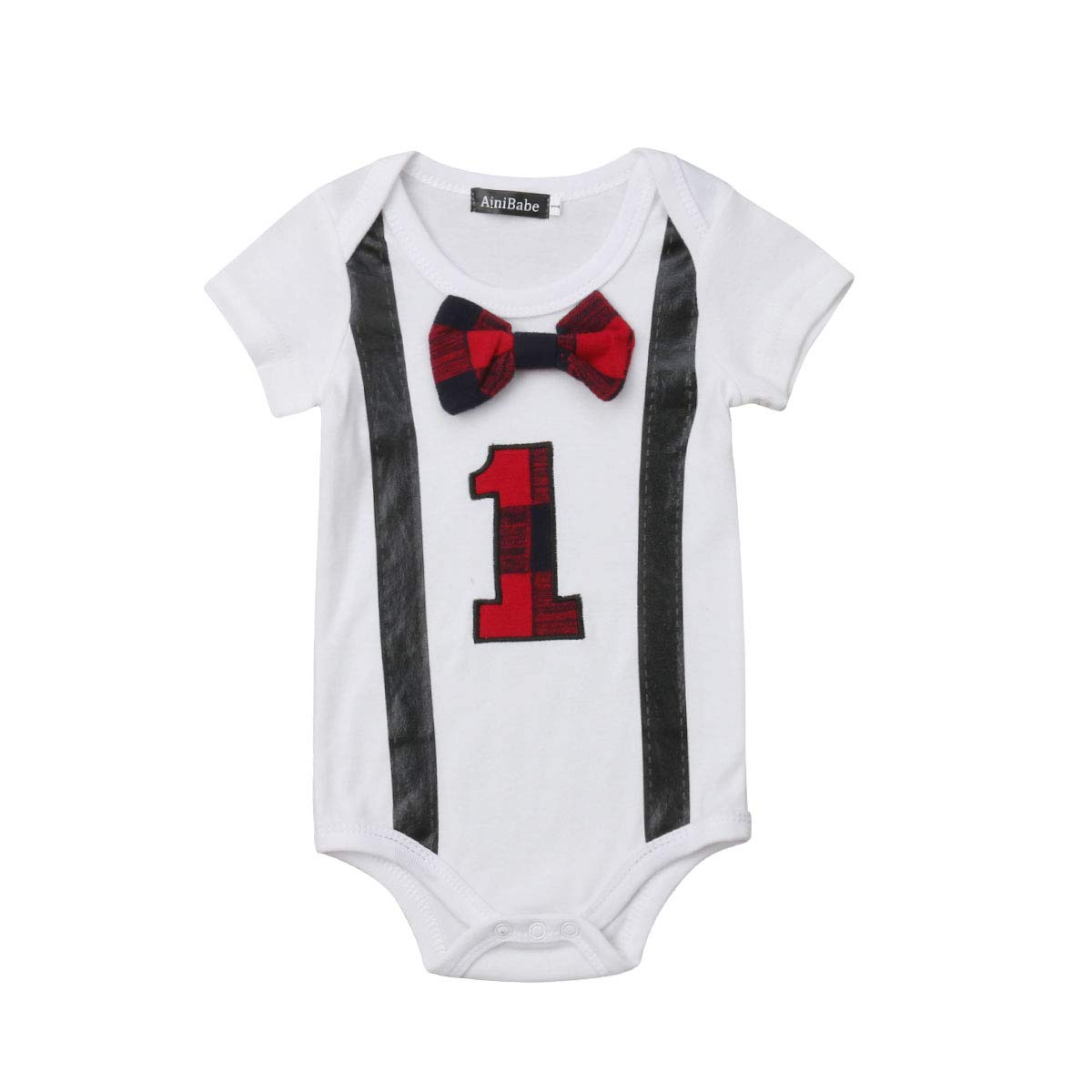 Newbrorn Baby Boys Funny First Birthday Bow Tie Infant Romper Bodysuit Suspender Straps Party Outfit Set