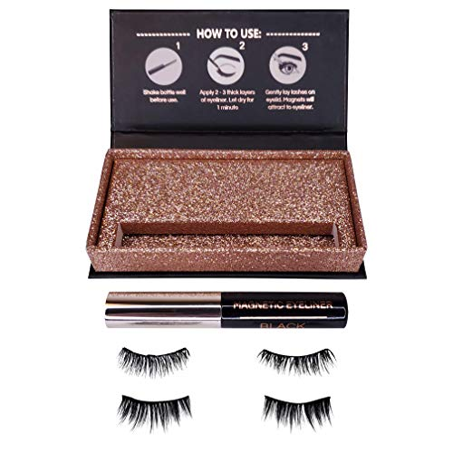 Magnetic Eyeliner and Magnetic Eyelash Kit - Day to Night - Reusable Silk False Lashes - Natural Look [No Glue] by Clevermore Essentials (Image #2)