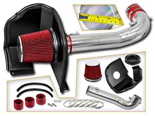Cold Air Intake System with Heat Shield Kit + Filter Combo RED Compatible For 15-17 Cadillac Escalade V8 (Best Cold Air Intake For 2019 Chevy Silverado 1500)