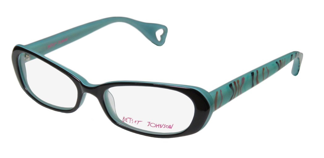Betsey Johnson Untamed Womens/Ladies Designer Full-rim Popular Style Upscale Eyeglasses/Eyewear (52-16-135, Black/Teal / Multicolor)