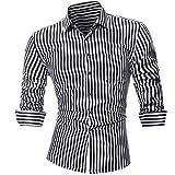Men Stripe Shirt Casual Stylish Long Sleeve Cool Collar Dress Shirts Zulmaliu(L-5XL (4XL, Black)