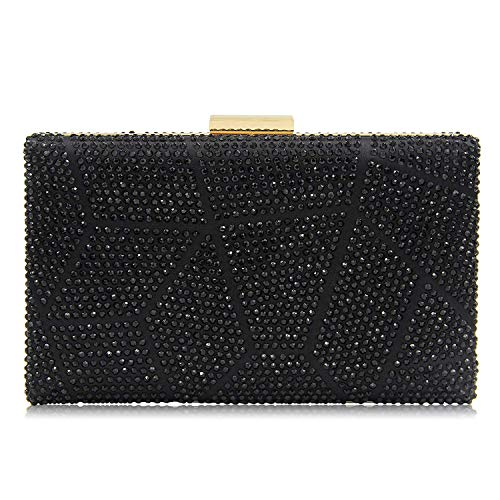 Yekajlin Women Clutches Crystal Evening Bags Clutch Purse Party Wedding Handbags (Black) -