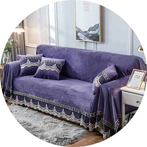 Jade clear European Style Sofa Cover for Living Room Grey Plush Slipcovers Stretch Furniture Sectional Couch Cover Luxury Fabric Lace Decor,Purple 1pcs,Three 200x300cm (Couch Toronto Sectional)