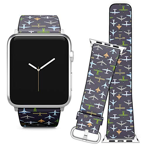 Compatible with Apple Watch (42/44 mm) // Leather Replacement Bracelet Strap Wristband + Adapters // Airplane Top View