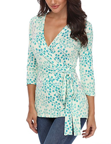 MISS MOLY Half Sleeve Tops for Women Deep V Neck Unique Geometric Print Blouse Shirt (Green Leaves, (Geometric Leaf)