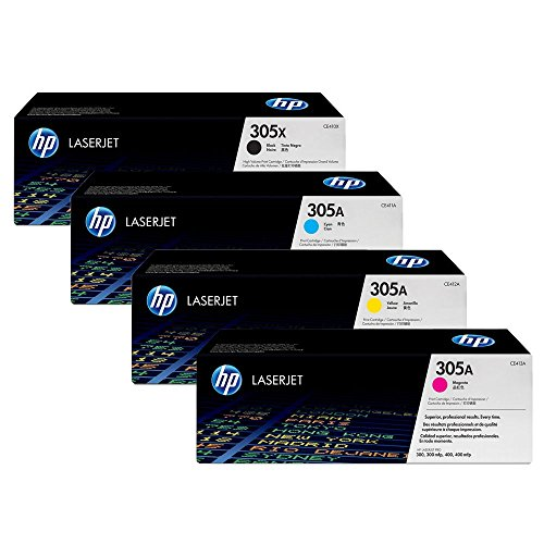 HP 305X High Yield Black and 305A Standard Yield CMY OEM Toner Cartridge Set (CE410X, CE411A, CE412A, CE413A) for HP LaserJet Pro 300/300mfp and 400/400mfp - Sealed in Retail Packaging