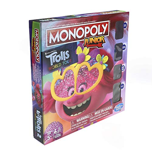 Monopoly Junior: DreamWorks Trolls World Tour Edition Board Game for Kids Ages 5 and Up