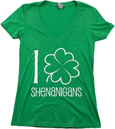 I Shamrock Shenanigans | Cute, Funny St. Patrick's Day Ladies' Green Deep V-neck