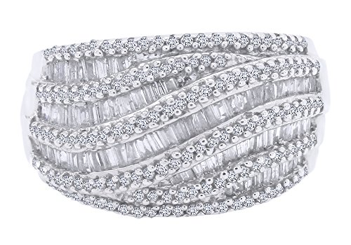 Baguette Shape White Natural Diamond Wave Band Ring in 14k White Gold Over Sterling Silver (1 Cttw) by AFFY