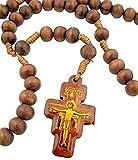 CB Mens Womens Catholic Gift 8mm Wood Bead Saint St Francis of Assisi San Damiano