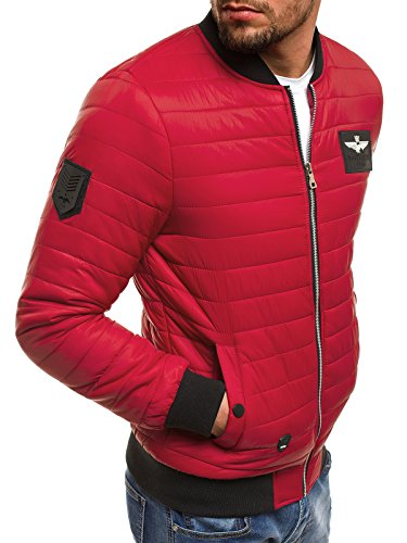 18 Chaqueta Chaqueta J nature de Capucha Jacket 3056 Hombres Cuero Chaqueta con Chaqueta Mix de OZONEE Invierno Rojo 5026 para Vaquera Style 0w51wqZ