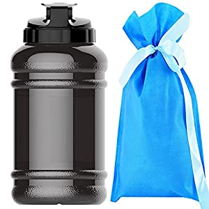 2.2 Litre(74OZ) Sport Water Bottle -Water Jug-Wave bottles-Drinking Bottle-3.2 Inch Wide Mouth with BPA Free (Black)