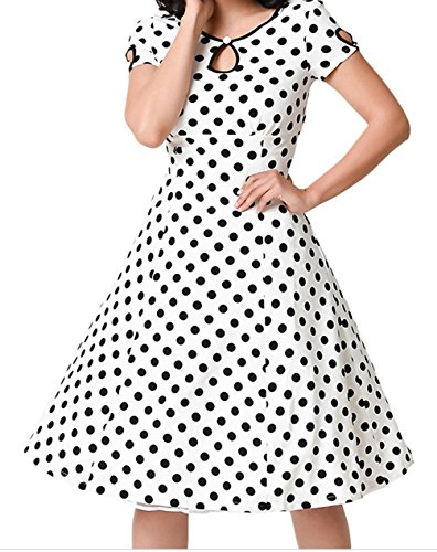 Christmas PEGGYNCO Womens White & Black Dotted Cap Sleeve Swing Dress Size M