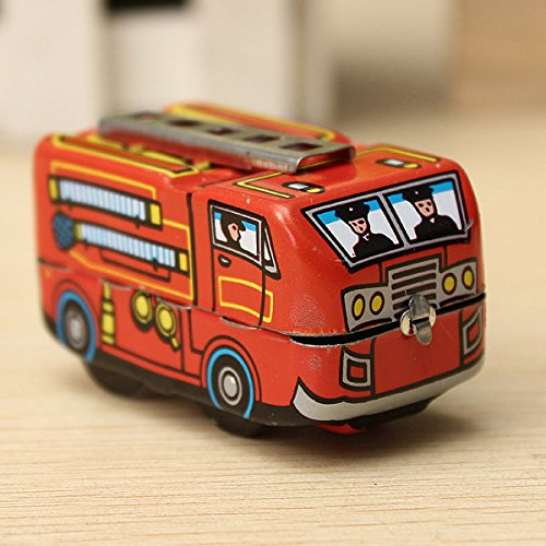 Pink Lizard Vintage Fire Chief Firefighter Car Truck Clockwork Wind Up Tin Toys