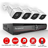 Security Camera System, Firstrend 4CH POE Security Camera System 1080P with 4pcs HD Security Camera, Plug and Play Security System with 1TB Hard Drive Pre-installed, Free APP and Night Vision