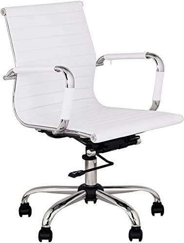 Universal Lighting and Decor Serge Modern Home Office Chair Swivel Tilt Low Back White Black Chrome Adjustable