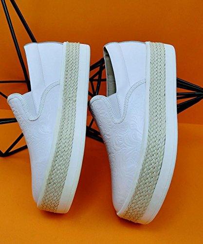 in turno in e bianco 37 tempo suola pelle con NSXZ nero 36 's Women libero scarpe WHITE unico dxCdIqP