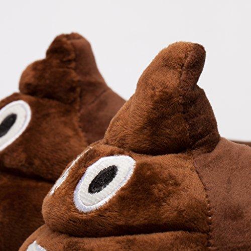 Zapatillas de felpa con motivo Emoji Diablo - Riendo para niños y adultos - Pantuflas de estar por casa Smiley de invierno - Violeta Talla Única 36-44 Marrón / Caca