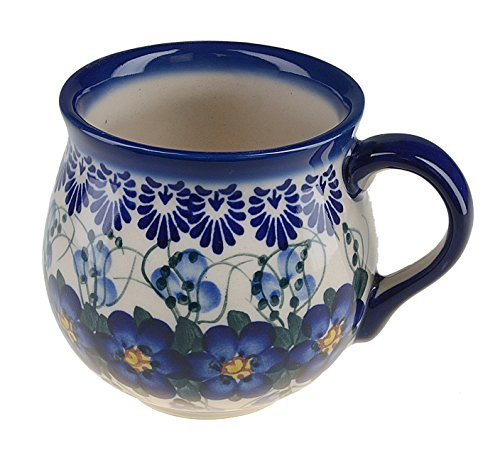 BCV Classic Polish, Boleslawiec Pottery, Hand Painted Stoneware, Ceramic Mug Barrel, 10 ounces, 524-U-003